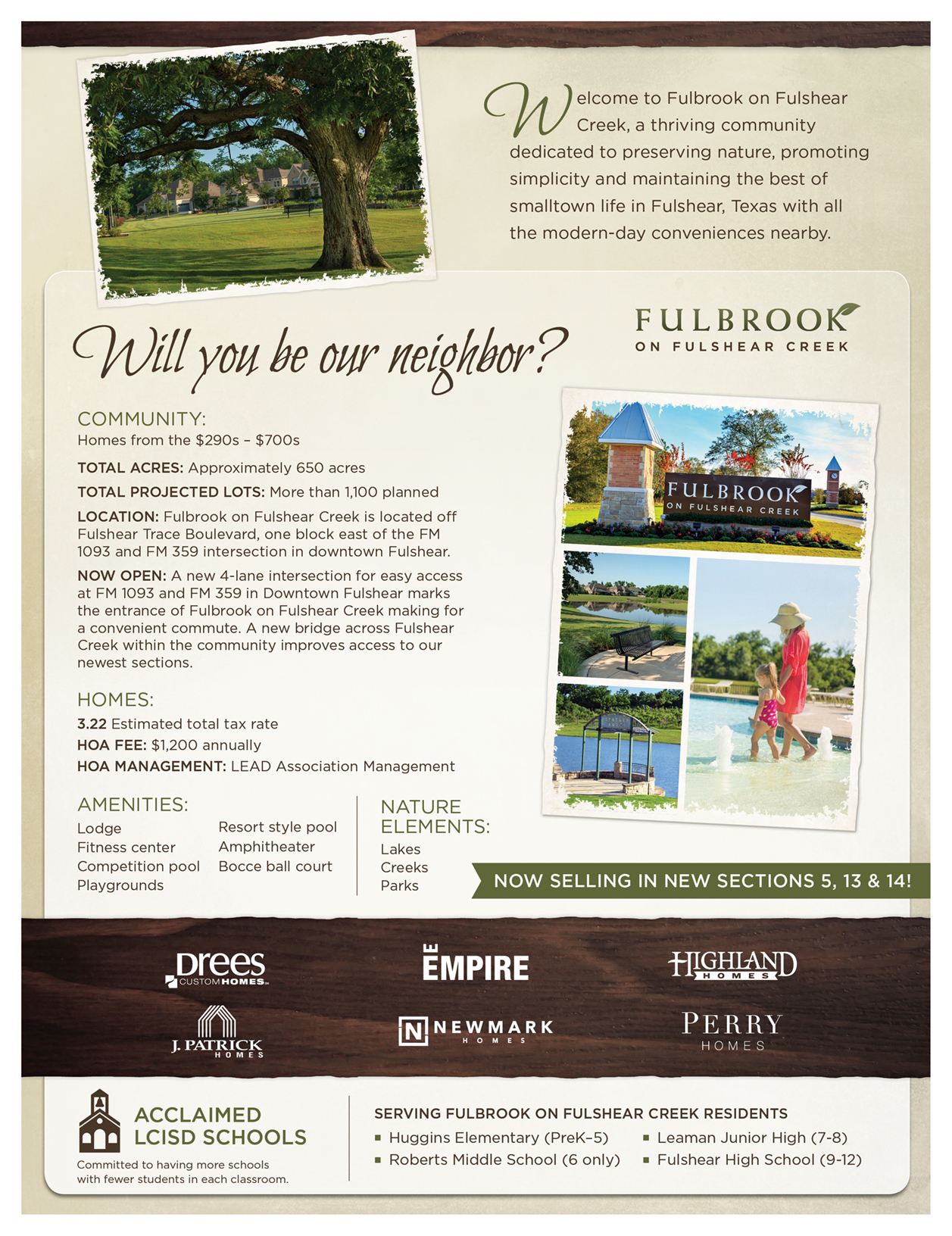 Fulbrook on Fulshear Creek Fact Sheet